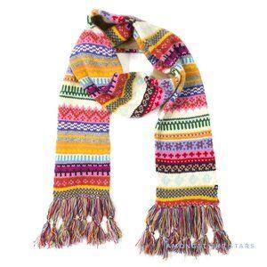 GAP Colorful Fair Isle Lambs Wool Fringe Scarf
